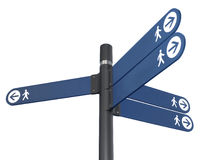 Directional sign. Directional arrows sign for pedestrian. Clipping path Stock Images