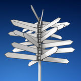 Directional sign. Realistic elaborated illustration of empty directional sign, shows many directions Stock Photography