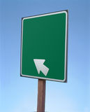 Directional Sign. Studio image of a blank road sign with an arrow. Sign was left intentionally blank for an addition of text, relating to goals, in post Stock Photos