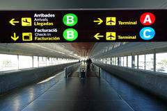 Directional sign in Barcelona airport Stock Photos