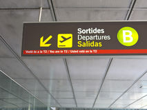 Directional sign in Barcelona International airport. Catalonia, Spain Stock Images