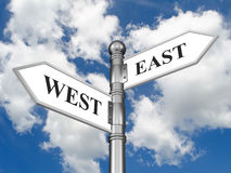 Directional sign East West Royalty Free Stock Photography