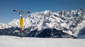 Directional sign in the French Alps, Chamonix Royalty Free Stock Images
