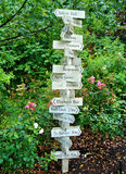 Directional Sign in a Green Forest Royalty Free Stock Photo