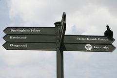 Directional Sign in London. A directional sign in London pointing to various destinations Stock Photography