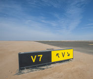 Directional sign markings by a runway Stock Photo