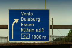 Directional sign on the motorway A 3. Highway sign, directional sign on the motorway A 3, direction Venlo, Duisburg, Essen, Muelheim an der Ruhr, Oberhausen stock photography