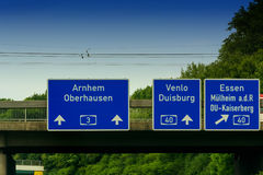 Directional sign on the motorway A 3. Highway sign, directional sign on the motorway A 3, direction Venlo, Duisburg, Essen, Muelheim an der Ruhr, Oberhausen stock photo