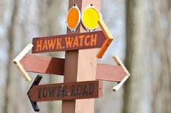 Directional Sign Pointing Way To The Hawk Watch Stock Photos