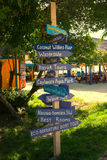 Directional sign post in Coco cay Stock Image