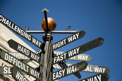 Directional sign post with mixed messages Royalty Free Stock Image