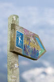 Directional sign post to the Pichincha Volcano, with Quito in th Stock Image