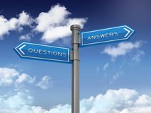 Directional Sign with Questions and Answers Words Stock Image