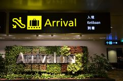 Directional sign in the Singapore Changi Airport. Royalty Free Stock Photo