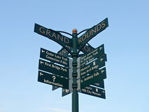 Directional Sign at the Stone Arch Bridge in Minneapolis Royalty Free Stock Image