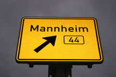 Directional sign to Mannheim. Directional sign to the german city Mannheim stock image
