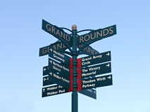 Directional Sign at Victory Memorial Park in Minneapolis Stock Photo