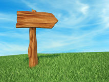 Directional sign wood. This is a 3d render illustration Stock Images