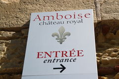 Directional signals to castle Amboise Royalty Free Stock Images