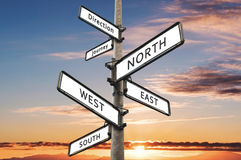 Directional signpost, with summer sky in sunset background royalty free stock photos