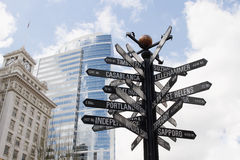 Directional Signpost to World Landmarks. In Downtown Portland Oregon royalty free stock photos