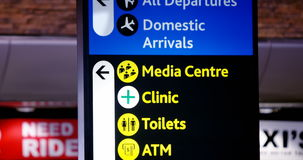 Directional signs at airport terminal. Directional signs for passengers at airport terminal stock video