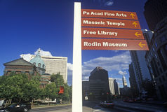 Directional signs on the grounds of St. Peter and Paul Cathedral, Philadelphia, PA Stock Image
