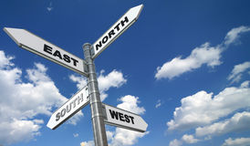 Directional signs over blue sky Royalty Free Stock Photo