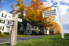 Directional signs in Peacham, VT in Autumn Stock Images