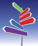 Directional signs. Signs pointing different directions and colors Stock Image