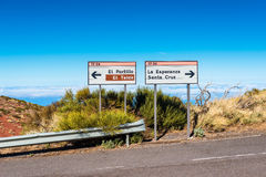Directional Signs in Teide National Park Tenerife Royalty Free Stock Photography