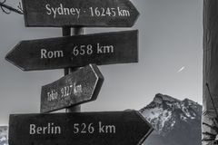 Directional signs to international cities in Salzburg. Signs stating distances to international cities in km in the city of Salzburg with mountain in the Royalty Free Stock Photo