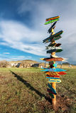 Directional Signs Towards Cities Around the World Stock Photo