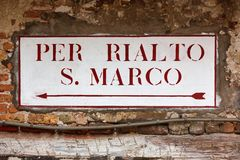 Directional street signs in Venice Royalty Free Stock Images