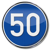 Directional traffic sign speed 50 kmh Royalty Free Stock Photo