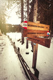 Directional wooden signs. Forest and snow. Royalty Free Stock Photo