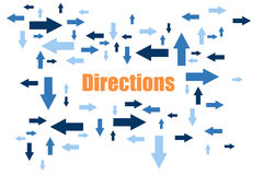 Directions. Blue Arrows In Different Sizes Pointing In Different Stock Illustration
