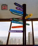 Directions. Sign with directions and distances, exit sign, city aerial view. Vancouver, Canada Stock Image