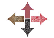 Directions. Four arrows showing different directions Stock Image