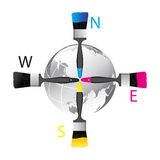 Directions. Cmyk paint brushes shows the directions with a shiny globe stock illustration