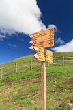 Directions in Alpine path Stock Photography