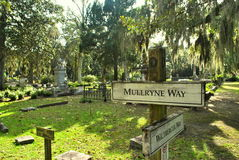 Directions at Bonaventure Cemetery stock images