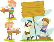 Directions and construction. An illustration of boys holding various signs royalty free illustration