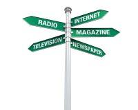 Directions de signe d'information de media illustration stock