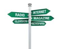 Directions de signe d'information de media Illustration de Vecteur