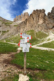 Directions in Dolomites Stock Photos