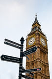 Directions, London. A signpost giving directions with the iconic Big Ben in the background on a wintery day in London Stock Images