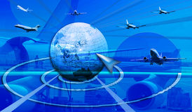 Directions and new horizons in business. This blue design shows our globe (asia)) in the middle part and planes flying in all directions. In the background is a Stock Photos