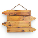 Directions. Old wood signboard on chain. Stock Image