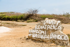 Directions Painted on Rock in Curacao Royalty Free Stock Photo